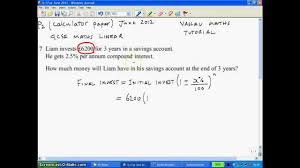 Compound Interest Worksheets Compound Interest Question In Gcse Maths Past Exam Paper Youtube