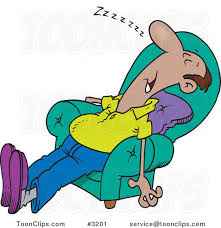 Sleeping In A Chair Cartoon Exhausted Guy Sleeping In An Arm Chair 3201 By Ron Leishman