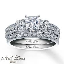 neil bridal set jewelers diamond bridal set 1 1 3 ct tw princess cut 14k white