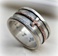 christian wedding bands mens wedding band rustic hammered cross ring oxidized