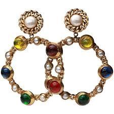 80s hoop earrings preowned 1980s chanel drop clip on hoop earrings 1 601 liked