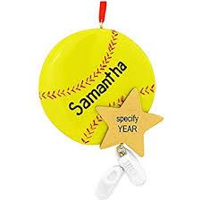 world softball glass blown ornament