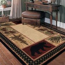 Green And Brown Area Rugs Lodge Cabin Rustic Pinecone Black Green Brown Area Rug