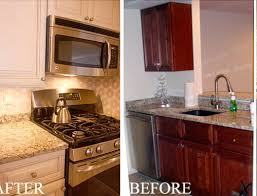 Before And After Kitchen Cabinet Painting Refinishing Kitchen Cabinets Before And After Photos