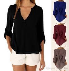 sleeve chiffon blouse best fashion casual v neck button slim waist
