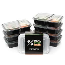 Thin Storage Containers Meal Prep Haven 7 Pack 2 Compartment Food Storage Containers