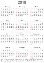 Kalender 2018 Free Kalender 2018 Für Usa Woche Beginnt Am Sonntag Vektor Abbildung