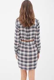 forever 21 belted plaid shirt dress in natural lyst