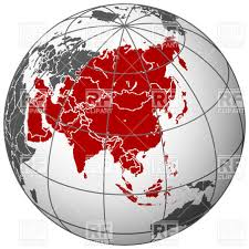 asia globe map world map asia on terrestrial globe royalty free vector clip