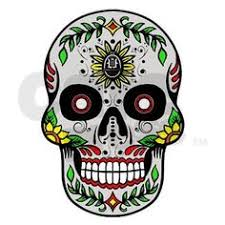 day of the dead sugar skull painted paper mache skeleton