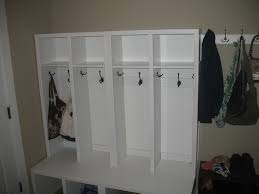 furniture white painted hardwood mudroom locker with twin height