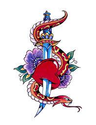 snake heart flower dagger tattoo free design ideas