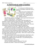 first grade reading comprehension worksheet a fall festival with
