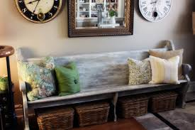 Coffee Table With Baskets Underneath Love Using Old Church Pews In The Home And The Baskets Underneath