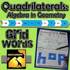 quadrilaterals algebra in geometry gridwords by math giraffe