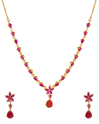 colored necklace set images Productsfloral gold plated necklace set adorned with shiny cz and jpg
