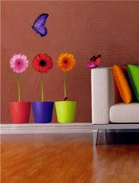 bright flower and butterfly wall sticker vinyl transfer mural wall art
