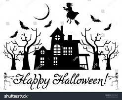 vector halloween halloween banner house flying witch silhouettes stock vector