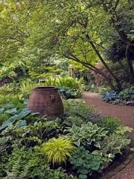 large tropical shade garden with ornament beautiful tropical