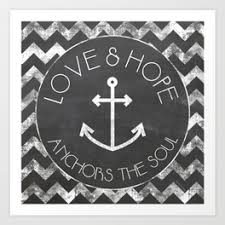 Chalkboard Love And Hope Anchors - hedgehogs say funny things art print by sarahlazarovic society6