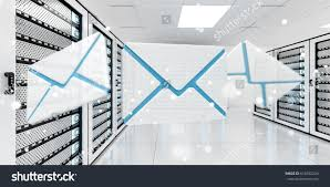 digital white blue emails flying over stock illustration 610352234