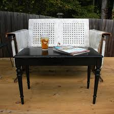 piano bench makes the perfect porch coffee table