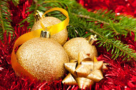 balls bulbs gold tinsel tree ribbon new year