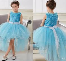 light blue dresses for kids 2016 light blue cute flower girls dresses high low ruffle tulle