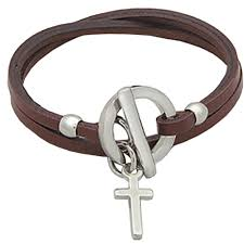 leather bracelet with cross images Ladies wrap around leather and steel cross bracelet b308e jpg