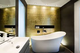 gold wall bathroom bath sink mirror modern home in hampshire