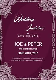 Wedding Invitation Samples Purple Wedding Invitation Template Vector Free Download