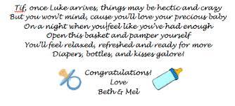 baby shower gift basket poem shower basket tag