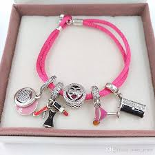 cord bracelet with charm images Authentic 925 silver fabric cord bracelet hot pink fits european jpg