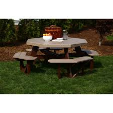 Red Cedar Octagon Walk In Picnic Table by Poly Octagon Picnic Table