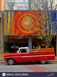 wooden truck bed bright red orange chevy pickup truck with wooden bed railing