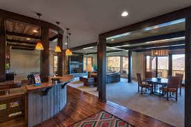 rustic basement bar ideas basement rustic with curved counter open