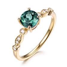 chagne diamond engagement ring alexandrite color change engagement ring 14k yellow gold diamond