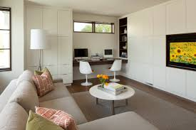 Desk In Living Room by Linden Hills Contemporary Swan Architecture