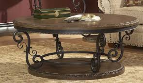 homelegance harman heights oversized round cocktail table 5552 01