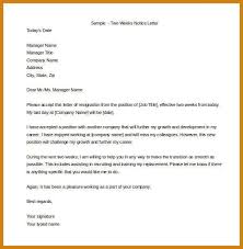 2 weeks notice letter example letter format template