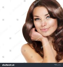 Hair Color For White Skin Beautiful Brunette Woman Portrait Healthy Hairclear Stock Photo