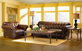 agreeable living room furniture design with dark brown leather
