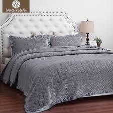 naturelife velvet quilt set leaf pattern bedspread bed cover