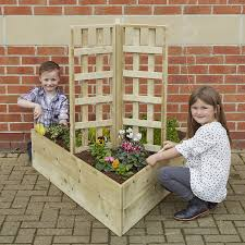 buy wooden planters with trellis tts