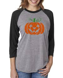 Halloween Costumes T Shirts by Glitter Jack O U0027 Lantern Pumpkin Halloween Costume Womens Raglan