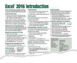excel 2016 quick reference guide card cheat sheet beezix