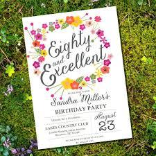 80th birthday invitations 80th birthday invitations floral eightieth birthday invitation