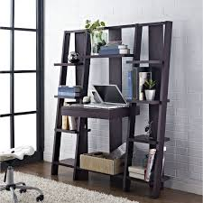 black wooden ladder shelf computer desk with keyboard racks on