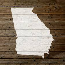 map of state outline white distressed paint on reclaimed