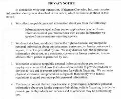 privacy policy of whiteman chevrolet